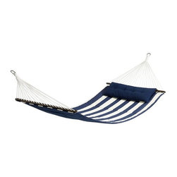 Hammock Sling and Headrest, Ink Blue - Blue and white decor shouldn't be limited to the interiors! I love seeing it on outdoor furniture too. And this extra-wide hammock is beautiful and perfect for two.