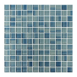"Rocky Point TILE - Blue Skies 1x1 Hand painted Glass Mosaic Tiles, 4"" X 6"" Sample - A 4"" x 6"" sample of Blue Skies glass mosaic tile. A calming hand painted mix of darker and lighter blues. These tiles come on a 12 /34 x 12 3/4 mesh backing. They have a high gloss finish. A great choice for an accent in a bathroom or a fresh look in a kitchen backsplash."
