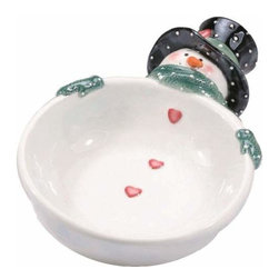 WL - 6 Inch White Snowman with Black Hat and Green Scarf Headed Bowl - This gorgeous 6 Inch White Snowman with Black Hat and Green Scarf Headed Bowl has the finest details and highest quality you will find anywhere! 6 Inch White Snowman with Black Hat and Green Scarf Headed Bowl is truly remarkable.