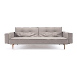 """Innovation USA - """"Innovation"""" Splitback Mixed Dance Light Grey Sofa Bed / ... - Thanks to the comfortable backrest this sofa easily transforms to chaise or bed. Mattress and convenient armrests of """"Innovation USA"""" Splitback Mixed Dance Light Grey Sofa Bed With Arms  Light Wood Legs ensures additional comfort. Available in 6 different fabric types includingbegum dark brown, mixed dance blue/burned orange, black/white leather textile. See more colors in the Splitback Collection below."""