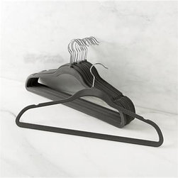 Set of 12 Flocked Grey Hangers - Slim hangers save an amazing amount of closet space, while the flocked finish prevents garments from slipping off.
