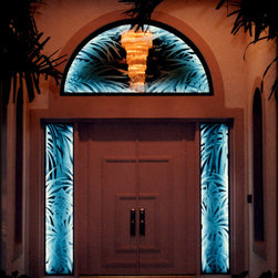 Art Glass Application - Residential - This is a custom illuminated front entry. Full entry packages to a single door. Any style design, exquisitely executed from concept, through to the final expert installation.