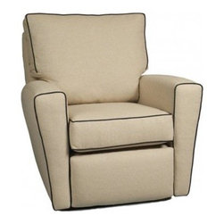Little Castle Monaco Recliner - Restful nights with baby are no longer something you dream about - the Little Castle Monaco Recliner makes it a reality. This piece features a swivel and gliding function that allow you to gently soothe baby when she's stressed while the reclining position means you can get some rest too. Complete with a classic recliner look so the piece is perfect for nearly every room - from the nursery to the guest or living room. The contrasting lining completes the look.About Little CastleLittle Castle Furniture Company specializes in upholstered swivel gliders designed to lull babies to sleep with a smooth gliding motion. Little Castle chairs and gliders feature taller backs to support your head and neck during those late-night feedings as well as higher armrests to support your arm while nursing. Their gliders are ideal for your baby nursery but they can easily transition into a family room setting when your child grows older. In addition to swivel gliders Little Castle manufactures a full line of children's upholstered furniture designed to suit children 3 to 13 years old.