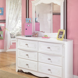 Ashley - Ashley Signature Design Exquisite White Dresser and Mirror - Designed by Ashley Furniture,the Exquisite bedroom dresser and mirror set features chic decorative scrolled embossing and satin nickel hardware. French styling adds glamorous sophistication to the rounded mirror and white dresser.