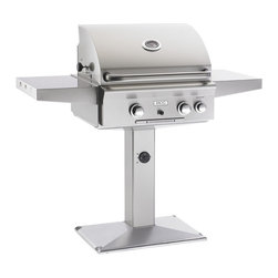 American Outdoor Grill - Pedestal Post Grill and Backburner - All stainless steel construction