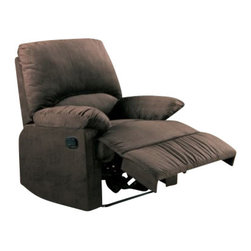"Coaster - Recliner (Chocolate) By Coaster - Curl up with your favorite blanket and snuggle into the supreme plush comfort of the Coaster Micro Recliner. This recliner is like a little package of soft, pillowy goodness. Upholstered in easy-to-clean microfiber, not only is this chair comfortable and easy-on-the-eye, it will resist stains and clean up nicely in a snap. A recessed external handle for reclining adds functionality without compromising style. Available in a variety of muted colors, this chair's casual style will complement a number of different decors. Chair measures 35""W x 35"" D x 40""H inches."
