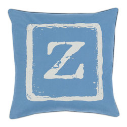 """Surya - Surya BKB-031 Pillow, 22"""" x 22"""", Down Feather Filler - Add a personal stamp to your space with the inclusion of this utterly perfect pillow. Hand made in India of 100% cotton, the boldly printed initial in smooth coloring effortlessly permits for a private touch while simultaneously embodying divine design from room to room within any home decor."""