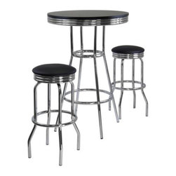 Winsome Wood - Summit Pub Table with 2 Swivel Stool, Set of 3 - Our 3 piece Summit Retro Pub table has a polished metal frame and legs with black composite wood top. This pub table comes with matching swivel barstools that are a perfect compliment for the table.