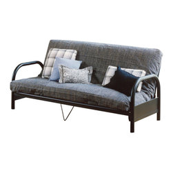 Hillsdale Furniture - Hillsdale Geneva 29 Inch Arm Height Futon - All metal construction and a handsome contemporary look. Clean lines with gracefully curved arms and center deck support. Black powder coat finish. Great addition to the spare bedroom or family room.