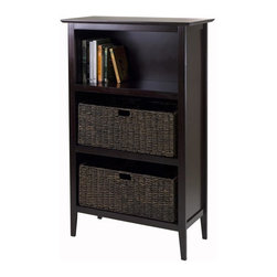Winsome Wood - Wooden Storage Unit - Includes two large foldable corn husk baskets. Espresso, chocolate finish. Assembly required. Baskets: 22.83 in. W x 10.24 in. D x 9.06 in. H. Storage unit: 30 in. W x 13.8 in. D x 48 in. H