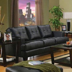 Coaster - Samuel Collection Black Transitional Sofa - The Samuel Collection offers style and comfort with its clean lines attached seat cushions. The only way to truly appreciate this collection is to sit and experience it.