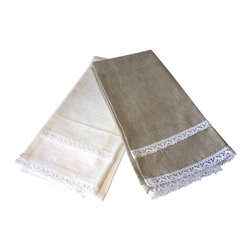 Kitchen Towel - Set of 2 - A delicate scallop design bestows a bit of whimsy and a touch of Parisian prettiness to your kitchen. The Kitchen Towel Linen Scallop in brown sugar beige and Ivory boasts a simple yet distinctive white lace trim elegantly placed above the subtly curved scallop border. As an adornment in your chef's kitchen, the towel is wonderfully charming; presented in place of a trivet, it brings French allure to your dining room table.