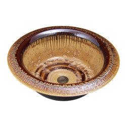 Indikoi Sinks LLC - METRO: Vessel or Self-Rimming Drop In Mount Sink, Mocha Crystal - The Metro style is a chic textured rim vessel or self-rimming drop in mount sink.