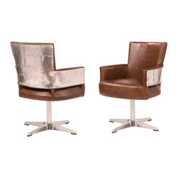 Newark Swivel Office Chair - Newark Swivel Chair is a futuristic dream chair that has all curves, chrome and leather. Pairing arms of stainless steel with a warm, vintage leather seat, its sleek, built-for-speed design contrasts old and new to masterful effect. A deep seat and raked back offer considerable comfort, swathed in sumptuous leather.