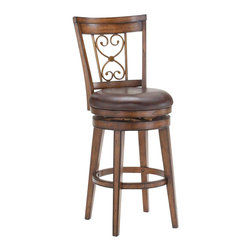 Hillsdale Furniture - Hillsdale Villagio Scroll Back Swivel Bar Stool in Dark Chestnut - Well made and sturdy construction with a dark chestnut finish give the Villagio scroll back swivel stool a defined appearance. The scroll back design makes this stool a timeless classic while the brown leather seats add warmth and comfort.  Available in both counter of barstool height.  Some assembly required.