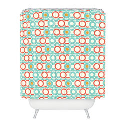 DENY Designs - Heather Dutton Ring A Ding Shower Curtain - Who says bathrooms can't be fun? To get the most bang for your buck, start with an artistic, inventive shower curtain. We've got endless options that will really make your bathroom pop. Heck, your guests may start spending a little extra time in there because of it!