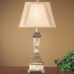 Frontgate - Dubois Table Lamp - Capiz and antique gold composition. French beige fabric shade. Takes one three-way, 100-watt type-A bulb (not included). Also available with California wiring. 120V. Featuring an elegant capiz and antique gold base, our Dubois Table Lamp makes a stunning statement in any room. It includes a  that softly filters the light and complements the lamps overall elegance.  . .  . . . UL listed.