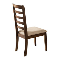 Steve Silver Furniture - Steve Silver Geneva Side Chair with Vinyl Seat in Coffee (Set of 2) - Ladder-back design and wood burnished to the hue of coffee, this chair is made of solid rubberwood and holds a vinyl upholstered seat.