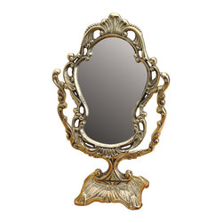 Renovators Supply - Mirrors Bright Cast Brass Vanity Mirrors 12 1/4'' H | 19547 - Mirror. This one-sided vanity mirror is traditional in design to suit any decor. Made of cast brass it comes with polished and lacquered protective finish. Overall it measures 12 1/4 in. H x 4 1/2 in. W. The base is 4 1/2 in. square and has a protective felt bottom pads. Mirror frame is 6 1/2 in. top to bottom and 4 1/2 in. wide.