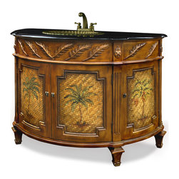 China Furniture and Arts - Palm Tree Motif Vanity with Granite Top - This four door vanity comes complete with a granite top, patina brass sink, and brass faucet. The face of each door panel features a canvas of wooden strips woven together then enlivened by a hand painted palm tree. The upper frieze contains hand carved palm leaves and the sink is crafted to mimic the appearance of a seashell. Fully assembled.