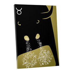 """PingoWorld - Zodiac Sign Taurus Gallery Wrapped Canvas Print, 30""""x20""""x1.25"""" - Zodiac Sign Taurus. Gallery wrap on archival quality canvas using Epson Ultra-Chrome inks and pine wood frames."""
