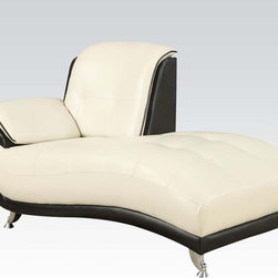 Olivette Black & White Bonded Leather Chaise - The bonded leather upholstered Olivette Collection provides your family and friends with a stylish modern look and great comfort. This Olivette Black & White Bonded Leather Chaise with chrome legs features ultra comfort seating.