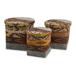 iMax - Tymon Water Hyacinth Baskets With Lids, Set of 3 - Made of woven water hyacinth, this set of three lidded baskets feature a batik inspired pattern and add a bohemian flair to any home. These make a great set of storage baskets for a variety of materials.