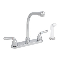 "Premier - Sanibel Lead Free Two-Handle Kitchen Faucet with Spray - Chrome - Twin Lever Handle Hi-Rise Spout Kitchen Faucet Chrome Plated Finish With Spray 1/2"" IPS Connection."