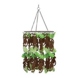 WallPops - Monkeying Around Chandelier Multicolor - WPC0023 - Shop for Chandeliers from Hayneedle.com! More fun than a barrel full of monkeys and more versatile too the Monkeying Around Chandelier will be a part of his bedroom decor for years to come. This silly chandelier has layers of cute brown monkeys and bright green leaves in a round shape and may be attached to most standard light cord sets.