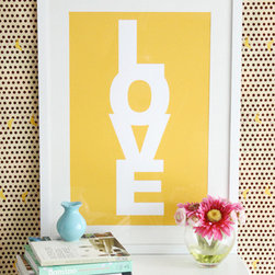 LOVE Print - Printed and designed by chic blogger Jen Ramos, this print has already become an interior design classic. Pick out a copy in one of the fun, preppy colors to add a splash of cheer to any room!