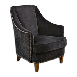 """Nala Midnight Black Armchair - Midnight Black Lounge Chair Has Plush Fabric With Subtle Swirl Sculpting, Nail Head Trim And Sunwashed Pecan Finished Legs. Reinforced Hardwood Construction With Removable Seat Cushion. Light Assembly. Seat Height Is 19"""". Bulbs Included: No"""