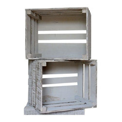 Used Fruit Baskets with Fading Gray Paint - A Pair - Farmhouse fresh! Use this pair of half bushel size fruit crates with fading gray paint as a way to display your tasty ingredients in the kitchen or as storage baskets for your favorite magazines in the living room.     Please contact support@chairish.com if you're interested in purchasing multiple sets.