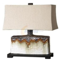 Uttermost - Uttermost 26455-1 Adelanto Table Lamp In Ceramic - Textured ceramic base finished in an antiqued ivory glaze with a metallic dark bronze and rusty orange drip. The rectangle bell shade is a khaki linen fabric with natural slubbing.