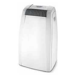 Delonghi - 10,000 BTU Portable Air to Air - The DeLonghi PACC100E Pinguino C Series 10,000 BTU Portable Air Conditioner offers maximum comfort and energy savings for rooms up to 350 square feet. It cools and dehumidifies the air with quiet operation and low power consumption. The easy-to-use electronic control panel includes a 24-hour digital timer and digital thermostat. The intelligent remote control with LCD display allows you to operate the unit from across the room. The exclusive Condensate Recirculation system recycles the condensation within the machine for dripless, bucketless operation. Additional features include separate dehumidifying function, separate fan function and eco-friendly R410A refrigerant. This unit is easily portable with durable castor wheels and side-carry handles so you can use it where you need it, when you need it. The easy 5-minute set up requires no tools (window bracket and exhaust hose are included).Pinguino C Series 10,000 BTU portable air conditioner uses standard 115V electrical outlet|Cools rooms up to 350 square feet|Modes include air conditioning, dehumidifying and fan only|Low power consumption saves energy|Eco-friendly R410A refrigerant|Condensate recirculation system recycles the condensation within the machine for dripless, bucketless operation|Dehumidification while cooling removes 49.6 pints of excess moisture per day|Separate dehumidifying only function removes 76.08 pints of excess moisture per day|Electronic control panel, digital thermostat and LCD display|Intelligent remote control with LCD display operates unit from across the room|  delonghi| pinguino| pacc100e| pac-c100e| c| series| cool| cooling| air| conditioner| portable| ac| a/c| eco-friendly| ecofriendly| eco| friendly| energy| saver| savings| 10|000| 10000| btu  Package Contents: air conditioner|remote control|AAA batteries|window bracket|exhaust hose|manual|warranty  This item cannot be shipped to APO/FPO addresses