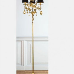 """7202 STL3 Floor Lamp - The 7202 STL3 Floor Lamp is part of a collection of High End light fixtures designed by Studio Stile Masiero in Italy for Masiero. This lamp is a beautiful and harmonious piece that brings to classicism and modernism a new perspective. 7202 floor lamp is an elegant light fixture consisting of a base and a long rod in gold coated metal in antique Fantasia style. Its components, flower details and glass pendants are decorated with golden leaf. The elegance and preciousness of the fixture is emphasized by Shantung Le Bok lampshades with black outside and gold inside. This is a stylish and contemporary floor lamp that will light up any environment. Illumination is provided by E14 100W Incandescent bulb (not included).     .proddesc p{font-family: Verdana, sans-serif; font-size:8pt!important;}   .pdtable{font-family: Verdana, sans-serif; font-size:8pt!important;padding:10px;} Product Details: The 7202 STL3 Floor Lamp is part of a collection of High End light fixtures designed by Studio Stile Masiero  in Italy for Masiero. This  lamp is a beautiful and harmonious piece that brings to classicism and modernism a new perspective. 7202 floor lamp is an elegant light fixture   consisting of a base and a long rod in gold coated metal  in antique Fantasia style. Its components, flower details and glass pendants are decorated with golden leaf. The elegance and preciousness of the fixture is emphasized by Shantung Le Bok lampshades with black outside and gold inside. This is a stylish and contemporary floor lamp that will light up any environment. Illumination  is provided by   E14  100W Incandescent    bulb (not included). Details:                         Manufacturer:            Masiero                            Designer:            Studio Stile Masiero                            Made in:            Italy                            Dimensions:                        Height: 67""""(170cm) X Diameter: 15.7""""(40cm)                                         Light b"""