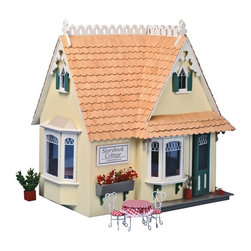 Greenleaf - Greenleaf Storybook Cottage Dollhouse Kit - 1 Inch Scale - DH8021 - Shop for Dollhouses and Dollhouse Furnishings from Hayneedle.com! All you need is a little handiwork and a bit of imagination to make the Greenleaf Storybook Cottage Dollhouse Kit - 1 Inch Scale come to life. This kit includes all materials needed to construct the wooden cottage frame as well as a nine-piece furniture set. The delightful design features a main floor attic two bay windows porch shutters flower box sign fish scale shingles and plenty of traditional gingerbread trim. The wood furniture kit includes everything you'll need to create an inviting story time setting: sofa/daybed chest with pull-down desk cafe table with three chairs two reading chairs and a coffee table. Wall decorations include two shelves framed photos and a round clock. Once assembled the dollhouse will have a true miniature scale of 1 inch = 1 foot. This Greenleaf dollhouse kit contains all the pre-cut plywood and plastic window parts needed. The parts feature an easy tab-and-slot assembly requiring no nails screws or tools. Any wood glue or a hot melt glue gun can be used to assemble the kits in just hours. This dollhouse kit does not come with paint or other decorations. Age recommendations: Assembly - 12 and up. Assembly with parent - 7 and up. Finished houses are not recommended for young children. About GreenleafEstablished in 1947 Greenleaf Steel Rule Die Corp is a leading manufacturer of all-wood dollhouse kits furnishings and accessories. Located in Schenevus N.Y. Greenleaf is acknowledged by many in the miniatures industry for its outstanding design and superior quality. Greenleaf wooden dollhouse kits are an ideal project for collectors or families who want to create lasting keepsakes.