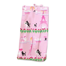Poodles in Paris Diaper Stacker - Ooh la la! Baby girls will adore this Diaper Stacker made with designer print with black and white poodles dancing the tango, sipping cafe, rubbing noses, and strolling through the tulips on the streets of Paris.  This item is completely made of cotton poplin.