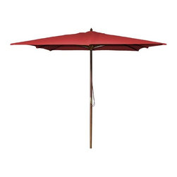 Fifthroom - 8.5' Square Market Polyester Umbrella w/Hardwood Pole, Manual Lift, and No Tilt - This 8.5� Square Market Umbrella would do wonderfully with a home patio dining set or a commercial restaurant outdoor dining area.  The hardwood pole is both fashionable and durable, while the polyester umbrella will withstand nearly any weather condition.  Available in 8 colors and featuring a 2 pully system, it is a fantastic addition to any residential or commercial property.