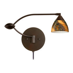 Besa Lighting - Besa Lighting 1WU-1858CE-CP Divi 1 Light Swing Arm Halogen Wall Sconce - Divi has a classical bell shape that complements aesthetic, while also built for optimal illumination. Our Ceylon glass is an inspiring varicolored glass with a look reminiscent to natural quartz, with a glossy polished surface. Blues and reds dominate when unlit, but turn the light on and the earth-tones take over. This decor is created by rolling molten glass in small bits of various colors called frit along with various glass powders. The result is a multi-layered blown glass, where frit color is nestled between an opal inner layer and a clear matte outer layer. This blown glass is handcrafted by a skilled artisan, utilizing century-old techniques passed down from generation to generation. Each piece of this decor has its own unique artistic nature that can be individually appreciated. The swing arm fixture includes a 12V electronic transformer and integrated full-range rotary dimmer. The adjustable arm assembly allows for 155 degree rotation and pivots at the clamshell-shaped center connection.Features: