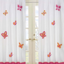Sweet Jojo Designs - Pink and Orange Butterfly 84-inch Curtain Panel Pair - Make your little girl's room bright and fanciful with this butterfly curtain panel pair from Sweet JoJo Designs. If you wish to expand the magic of the pink and orange butterfly theme, you can buy coordinating bedding sets separately.