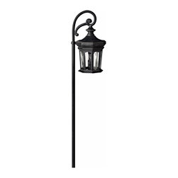 Hinkley Lighting - Raley Landscape Path Light - The flowing lines of the scrollwork counterbalance the solid build of the lamp housing perfectly. Comes in Museum Black finish. Takes 1 18 Watt Wedge Bulb.