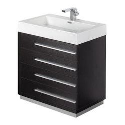 "Fresca - Fresca Livello 30"" Black Modern Bathroom Vanity w ..."