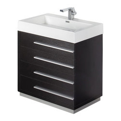 "Fresca - Fresca Livello 30"" Black Modern Bathroom Vanity w/Faucet & Medicine Cabinet - The Livello 30"" vanity features four pull out drawers that come equipped with slow closing hinges. Its sink is made with a durable acrylic material that is less likely to break then tradition ceramic, it also cleans better. This vanity's minimal design will make your bathroom feel like a modern oasis. Complete with medicine cabinet and basin."