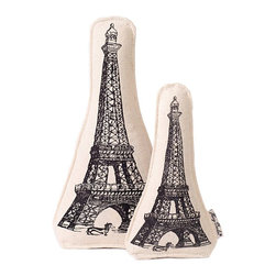 """Eiffel Tower Canvas Toy - 11"""" - Printed with one of the world's most recognizable architectural designs, the Eiffel Tower Canvas Dog Toy is a cultured gift for pups and other small canine friends.  This eco-friendly pet toy is designed for environmental responsibility (and, incidentally, softness underfoot when it's left by your bed) with a cotton canvas cover and recycled fiber fill."""