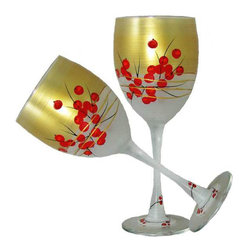 Berries 'n Branches Wine Glasses   Set of 2 - This lovely hand painted wine glass features cheerful Berries and Branches.  Perfect for the Holidays or any season.  Something to be handed down from generation to generation.  Proudly hand painted in the USA.