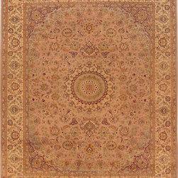 "ALRUG - Handmade Beige/Chocolate Persian Kashan Rug 8' x 10' 1"" (ft) - This Pakistani Kashan design rug is hand-knotted with Wool / Silk on Cotton."