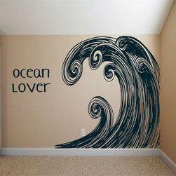 Huge Surf Ocean Wave Swirl Art Decal by 3rd Ave Shore - A little vinyl in the room makes a big impact. I would use this in a bedroom, or maybe a lounge/hangout space.