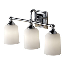Murray Feiss - Murray Feiss Harvard Bathroom Lighting Fixture in Chrome - Shown in picture: Harvard Vanity Strip in Chrome finish with White Opal Etched Glass