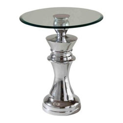 Stein World Fischer Queen Table - Make a strategic move toward sleek modern style with the Stein World 12662 Fischer Queen Table. You don't have to be a chess master to appreciate the classic design of this powerhouse piece. The metal base features a lovely polished aluminum finish, beautifully reflecting the clean glass top. Assembly required.About Stein WorldStein World is dedicated to discovering and bringing to the market place the finest hand-painted products from around the world. With over 50 years of experience, they have been able to develop not only the resources but true partnerships with quality manufacturers and artisans who make Stein World unique in the furniture industry today. Their commitment to you is to present only the highest quality furniture at prices that bring future family heirlooms into everyone's price range.