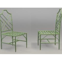 Chinese Chippendale Side Chair by The Well Appointed House - These Chinese Chippendale side chairs for the patio are available in wrought iron or aluminum and in 15 colors.